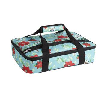 Blue Poinsettia Insulated Casserole Carrier