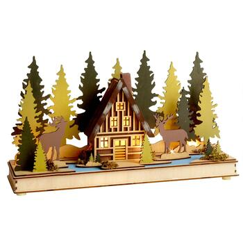 Moose Cottage Illuminated Landscape Decor