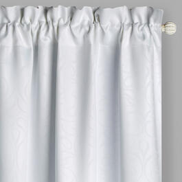 White Embossed Blackout Window Curtains, Set of 2 view 1