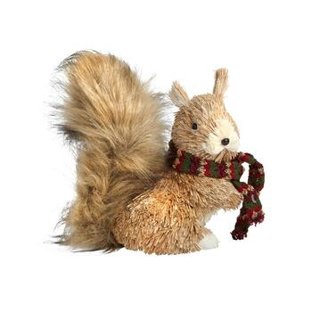 "8"" Bushy Gray Tailed Squirrel with Scarf Decor"