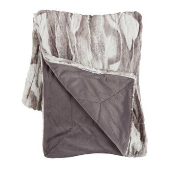 Gray Marble Faux Fur Throw Blanket