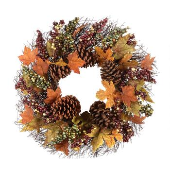 "22"" Berry and Pinecones Artificial Twig Wreath"