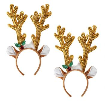 Gold Sequined Reindeer Antlers Headbands, Set of 2