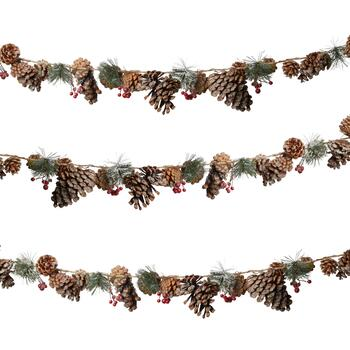 6' Snowy Pinecone and Red Berry Garland