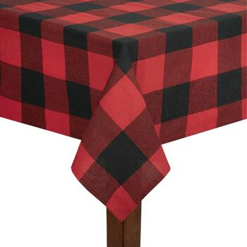 Red/Black Checkered Cotton Jacquard Tablecloth