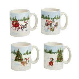 Christmas Dogs in the Snow Mugs, Set of 4