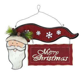 "14.25"" ""Merry Christmas"" Santa Wood Wall Sign"