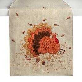 "72"" Cream Harvest Turkey Embellished Table Runner"