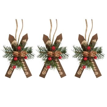 "7.25"" Frosted Skis Ornaments, Set of 3"
