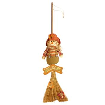 """Welcome"" Scarecrow Boy Hanging Broom Decor"