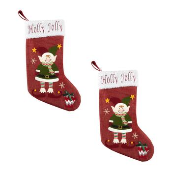 """Holly Jolly"" Sherpa Cuff Elf Burlap Stockings, Set of 2"