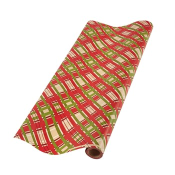 Red/Green Plaid Kraft Gift Wrapping Paper Roll