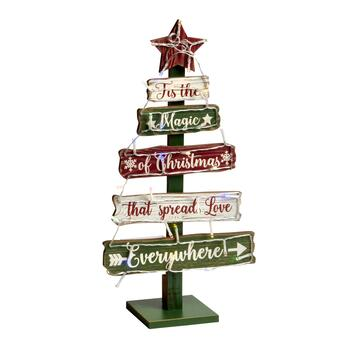 "19.5"" ""The Magic of Christmas"" LED Tiered Wood Tree"