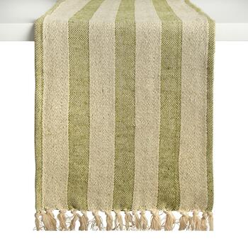 "72"" Green Striped Table Runner"