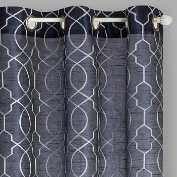 "84"" Faux Silk Geo Embroidered Grommet Top Window Curtains, Set of 2 view 1"
