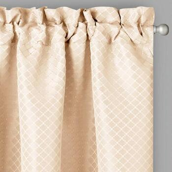 Jacquard Grid Window Curtains, Set of 2