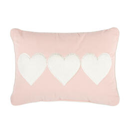 Pink Plush Hearts Oblong Throw Pillow view 1