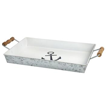 Anchor Galvanized Metal Serving Tray with Wood Handles