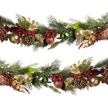 "35"" Christmas Tree Garland with Burgundy Bow"