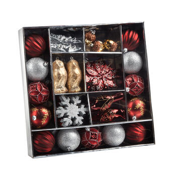 Red/Silver Shatterproof Ornament Set, 43-Piece view 1