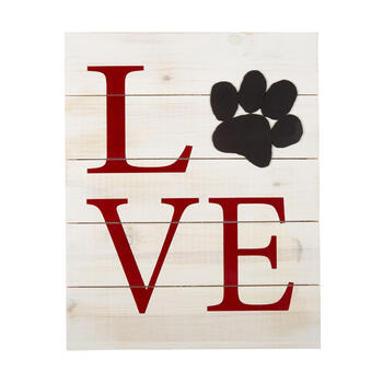 "16""x20"" ""Love"" Wood Pallet Paw Print Wall Decor view 1"