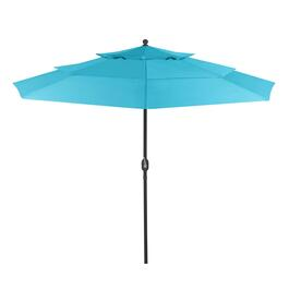 10' Teal 3-Sectioned Crank/Tilt Market Umbrella