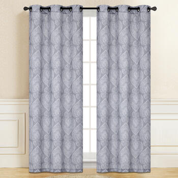 "84"" Gray Paisley Grommet Top Window Curtains, Set of 2 view 2"