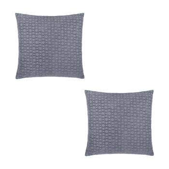 Solid Chenille Feather-Fill Square Throw Pillows, Set of 2 view 1