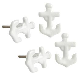 Boat Anchor Ceramic Furniture Knobs, Set of 4