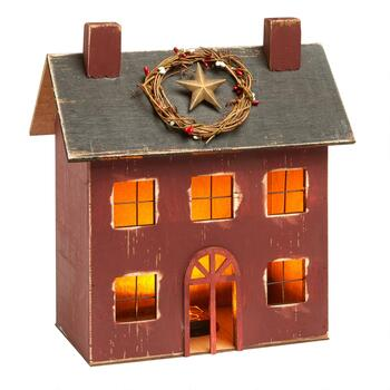 "13.5"" Red Lighted Wooden House"