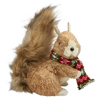 "8"" Red/Green Scarf Squirrel Decor with Dark Tail"