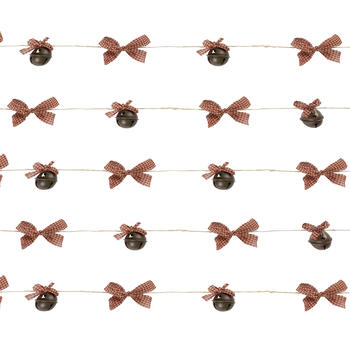 9' Brown Bell & Red Gingham Bow String Garlands, Set of 4