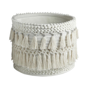 The Grainhouse™ White Fringe Round Cotton Basket with Handles view 1