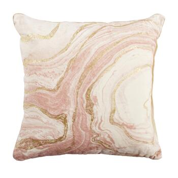 Embellished Metallic Marble Square Throw Pillow