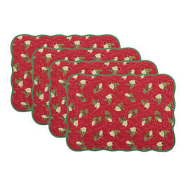 Red/Green Holly Berry Quilted Placemats, Set of 4 view 1