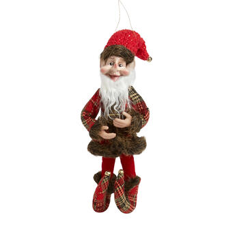 "14"" Red Plaid Jester Elf Poseable Ornament"
