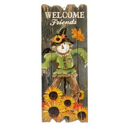 "23.25"" Scarecrow ""Welcome Friends"" Fence Wall Sign"