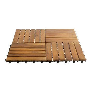 "11.75"" Square Acacia Wood Flooring Tiles, 10-Pack view 1"