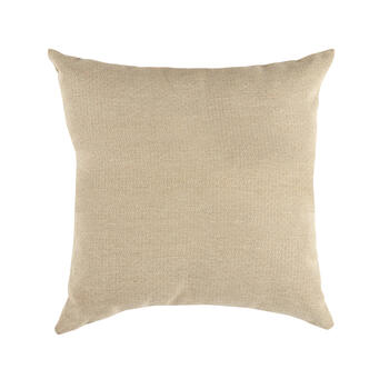Solid Beige Woven Indoor/Outdoor 3-Button Square Throw Pillow view 2