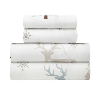 Reindeer & Snowflake Warm Cotton Flannel Sheet Set view 1
