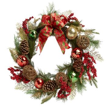 "21"" Christmas Tree Wreath with Red Bow"