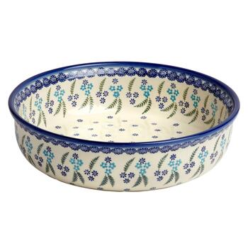 Polish Pottery Floral Fern Handmade Ceramic Fruit Bowl