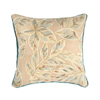 Blue/Beige Square Embroidered Bead Throw Pillow