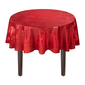 Red Lurex Metallic Poinsettia Damask Tablecloth view 2