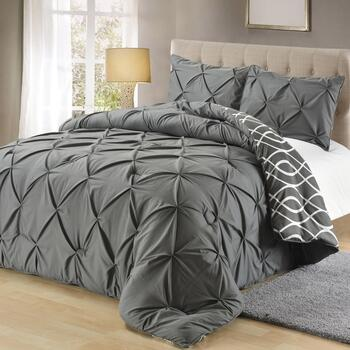 Pintucked Reversible Geometric Comforter Set