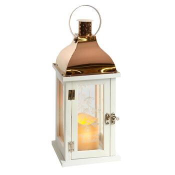 "13.25"" ""Under the Mistletoe"" Bronze Roof LED Pillar Lantern"