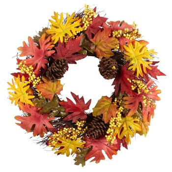 "22"" Red/Yellow Leaves and Berries Faux Wreath"