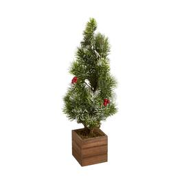23 wood box snowy berry artificial tree