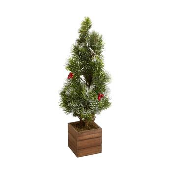 "23"" Wood Box Snowy Berry Artificial Tree"