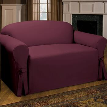 Side Ties Solid Loveseat Slipcover